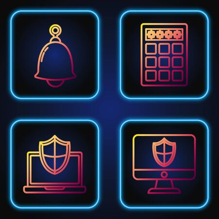 Set line Computer monitor and shield , Laptop protected with shield, Ringing bell and Password protection and safety access . Gradient color icons. Vector  イラスト・ベクター素材
