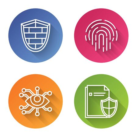 Set line Shield with cyber security brick wall , Fingerprint , Eye scan and Document protection concept . Color circle button. Vector Ilustrace
