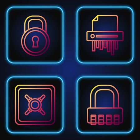 Set line Safe combination lock , Safe , Lock and Paper shredder confidential. Gradient color icons. Vector Stock fotó - 137646774