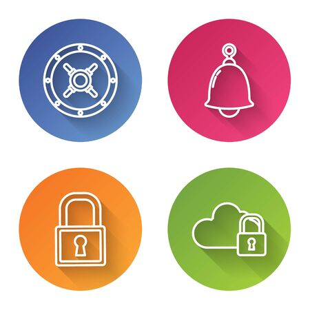 Set line Safe , Ringing bell , Lock and Cloud computing lock . Color circle button. Vector
