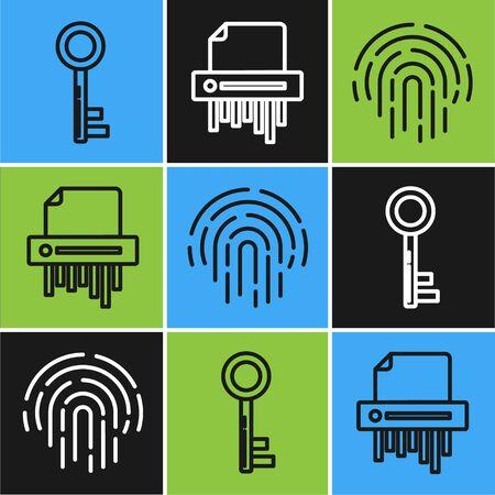 Set line Key , Fingerprint and Paper shredder confidential icon. Vector Stock fotó - 137737025