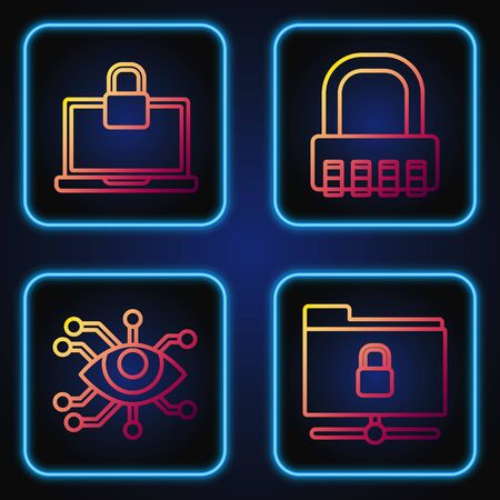 Set line FTP folder and lock , Eye scan , Laptop and lock and Safe combination lock . Gradient color icons. Vector