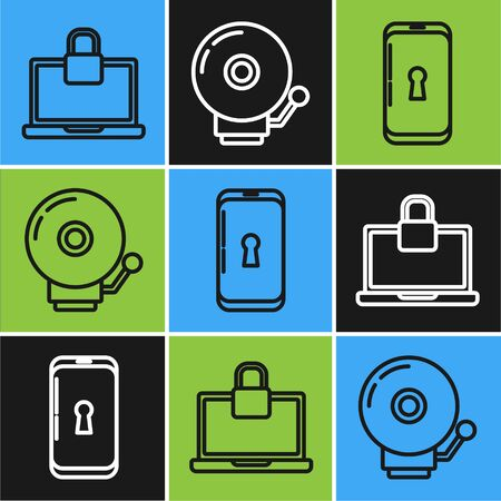 Set line Laptop and lock , Smartphone with lock and Ringing alarm bell icon. Vector  イラスト・ベクター素材