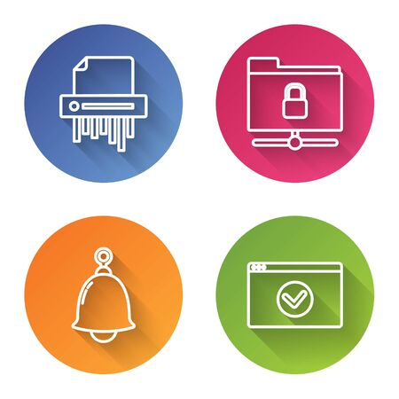 Set line Paper shredder confidential, FTP folder and lock , Ringing bell and Secure your site with HTTPS, SSL. Color circle button. Vector Stock fotó - 137737088