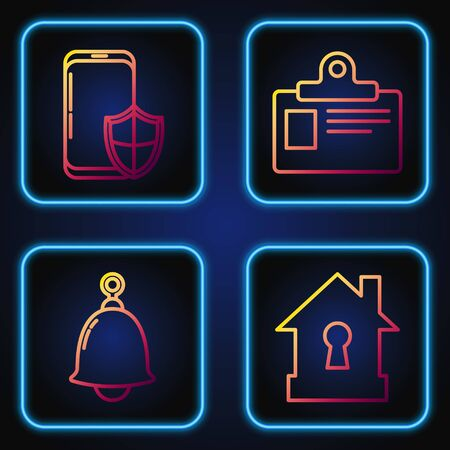 Set line House under protection , Ringing bell , Smartphone with security shield and Identification badge. Gradient color icons. Vector