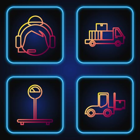 Set line Forklift truck , Scale , Support operator in touch and Delivery truck with cardboard boxes. Gradient color icons. Vector