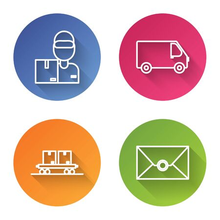 Set line Delivery man with cardboard boxes , Delivery cargo truck vehicle , Railway carriage and Envelope . Color circle button. Vector