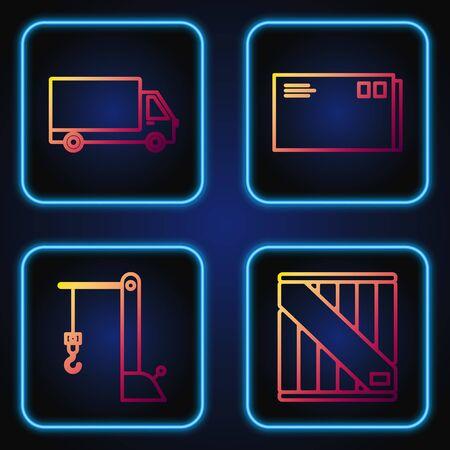Set line Wooden box , Harbor port crane, Delivery cargo truck vehicle and Envelope . Gradient color icons. Vector Banque d'images - 137647849