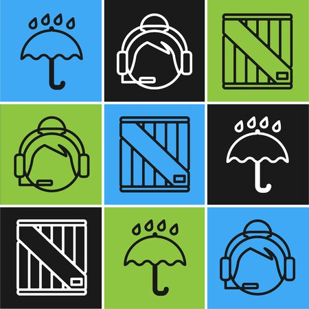 Set line Umbrella and rain drops , Wooden box and Support operator in touch icon. Vector