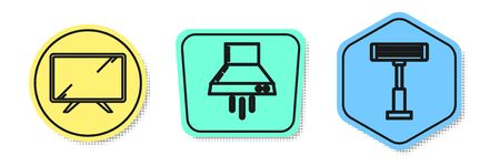 Set line Smart Tv , Kitchen extractor fan and Electric heater . Colored shapes. Vector