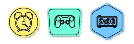 Set line Alarm clock , Gamepad and Digital alarm clock . Colored shapes. Vector Çizim