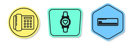 Set line Telephone , Smart watch showing heart beat rate and Air conditioner . Colored shapes. Vector