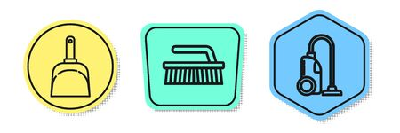 Set line Dustpan , Brush for cleaning and Vacuum cleaner . Colored shapes. Vector