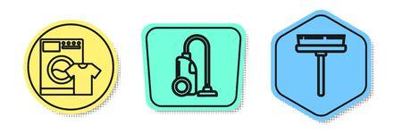 Set line Waschmaschine und T-Shirt, Staubsauger und Rakel, Schaber, Wischer. Farbige Formen. Vektor Vektorgrafik