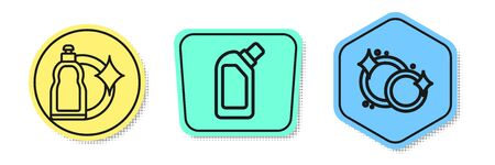 Set line Plastic bottles for liquid dishwashing liquid, Plastic bottles for liquid dishwashing liquid and Washing dishes . Colored shapes. Vector Illustration