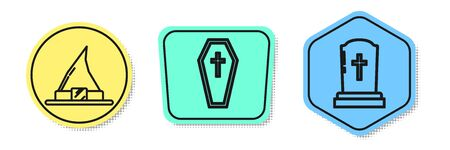 Set line Witch hat , Coffin with christian cross and Tombstone with cross . Colored shapes. Vector