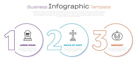 Set line Tombstone with RIP, Tombstone with cross and Pumpkin . Business infographic template. Vector Stock Illustratie