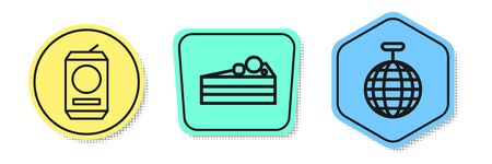Set line Beer can , Cake and Disco ball . Colored shapes. Vector Vettoriali