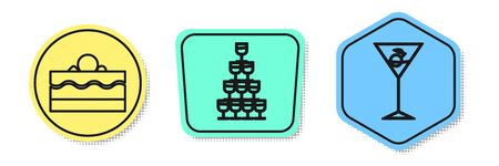 Set line Cake , Wine glasses stacked in a pyramid tower and Martini glass . Colored shapes. Vector