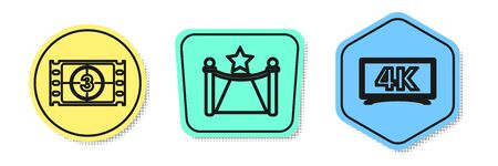 Set line Play Video , Carpet with barriers and star and Screen tv with 4k Ultra HD video technology . Colored shapes. Vector