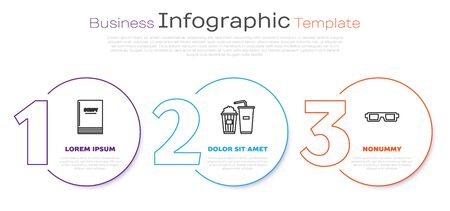 Set line Scenario , Popcorn and soda drink glass and 3D cinema glasses . Business infographic template. Vector