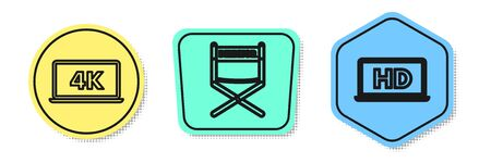 Set line Laptop screen with 4k video technology , Director movie chair and Laptop screen with HD video technology . Colored shapes. Vector Ilustração