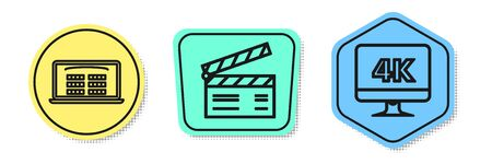 Set line Buy cinema ticket online , Movie clapper and Computer PC monitor with 4k video technology . Colored shapes. Vector