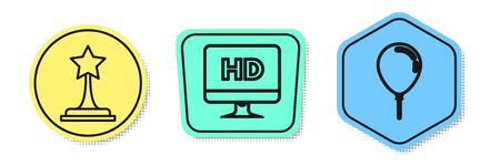 Set line Movie trophy , Computer PC monitor with HD video technology and Balloon with ribbon . Colored shapes. Vector