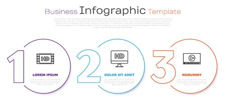 Set line 4k movie, tape, frame , Computer PC monitor with HD video technology and Online play video . Business infographic template. Vector