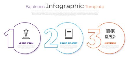 Set line Movie trophy , Scenario and The End handwritten inscription . Business infographic template. Vector Illusztráció