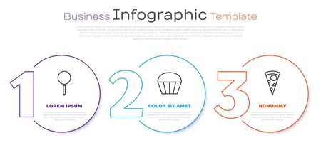 Set line Frying pan , Muffin and Slice of pizza . Business infographic template. Vector Ilustração