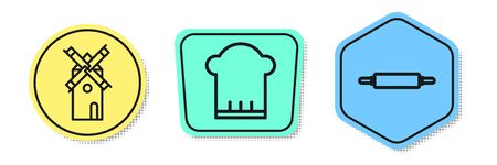 Set line Windmill , Chef hat and Rolling pin . Colored shapes. Vector