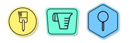 Set line Kitchen brush , Measuring cup and Frying pan . Colored shapes. Vector