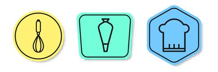 Set line Kitchen whisk , Pastry bag for decorate cakes and Chef hat . Colored shapes. Vector  イラスト・ベクター素材