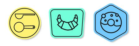 Set line Measuring spoon , Croissant and Donut with sweet glaze . Colored shapes. Vector  イラスト・ベクター素材