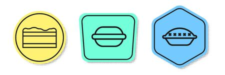 Set line Brownie chocolate cake , Macaron cookie and Homemade pie . Colored shapes. Vector