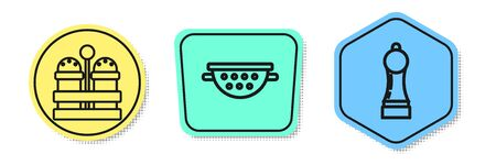 Set line Salt and pepper , Kitchen colander and Pepper . Colored shapes. Vector