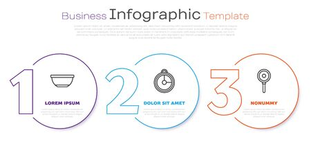 Set line Bowl , Kitchen timer and Frying pan . Business infographic template. Vector Ilustração