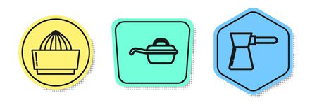 Set line Citrus fruit juicer , Frying pan and Coffee turk . Colored shapes. Vector