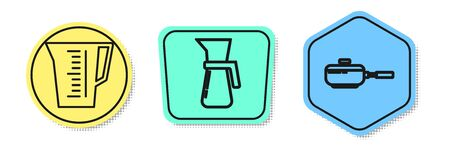 Set line Measuring cup, Measuring cup and Frying pan . Colored shapes. Vector