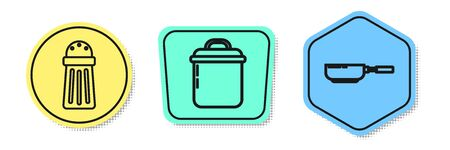 Set line Salt , Cooking pot and Frying pan . Colored shapes. Vector