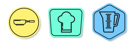 Set line Frying pan , Chef hat and Measuring cup. Colored shapes. Vector