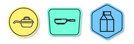 Set line Frying pan , Frying pan and Paper package for milk . Colored shapes. Vector Ilustração