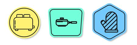 Set line Toaster with toasts , Frying pan and Oven glove . Colored shapes. Vector