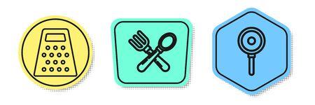Set line Grater , Crossed fork and spoon and Frying pan . Colored shapes. Vector Ilustração