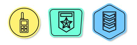 Set line Walkie talkie , Chevron and Military rank . Colored shapes. Vector