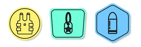 Set line Bulletproof vest for protection from bullets , Military dog tag and Bullet . Colored shapes. Vector Vettoriali
