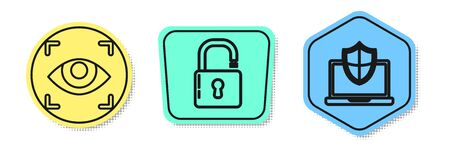 Set line Eye scan , Open padlock and Laptop protected with shield. Colored shapes. Vector Ilustrace