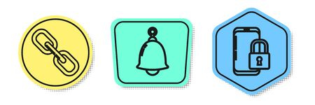 Set line Chain link , Ringing bell and Smartphone with closed padlock . Colored shapes. Vector