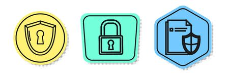 Set line Shield with keyhole , Lock and Document protection concept . Colored shapes. Vector Stock fotó - 137701468